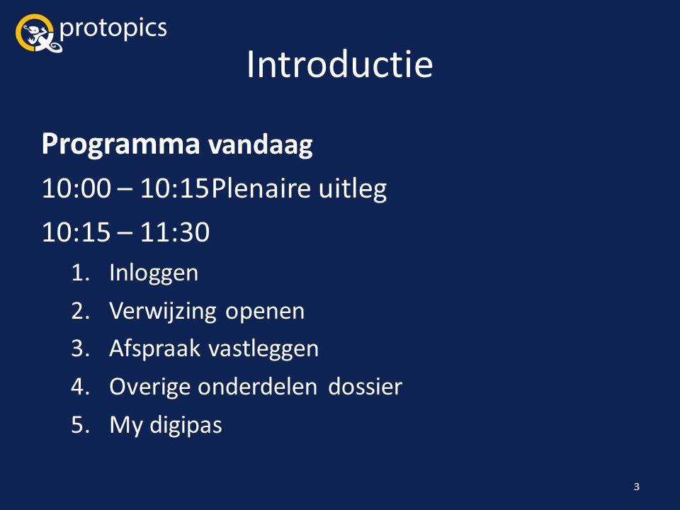 Introductie Programma vandaag 10:00 – 10:15 Plenaire uitleg