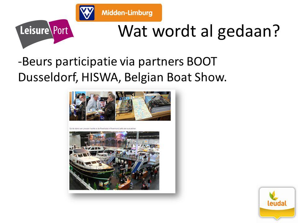 Wat wordt al gedaan Beurs participatie via partners BOOT Dusseldorf, HISWA, Belgian Boat Show.