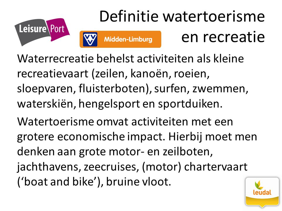 Definitie watertoerisme en recreatie