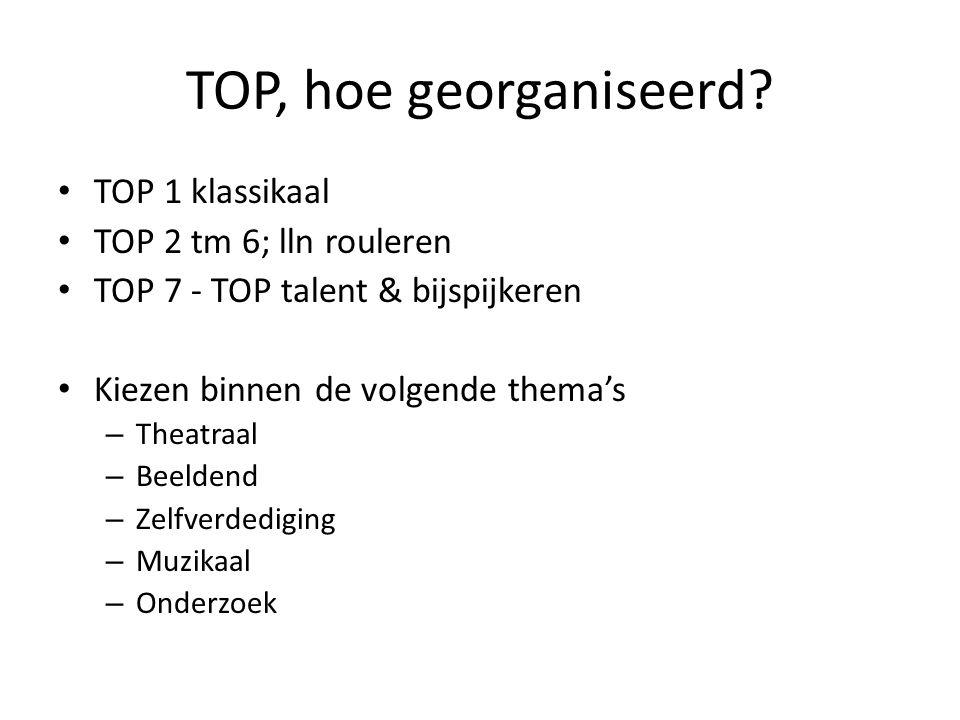 TOP, hoe georganiseerd TOP 1 klassikaal TOP 2 tm 6; lln rouleren
