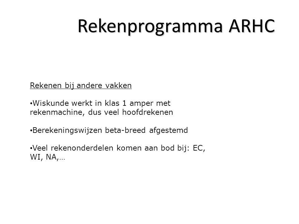 Rekenprogramma ARHC Rekenen bij andere vakken