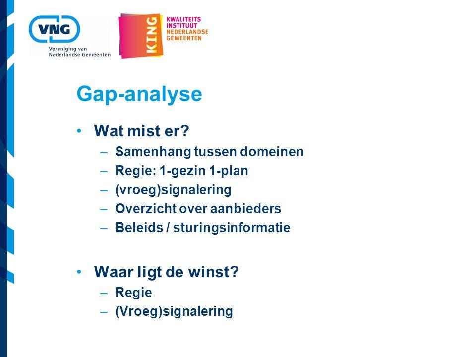 Gap-analyse Wat mist er Waar ligt de winst Samenhang tussen domeinen