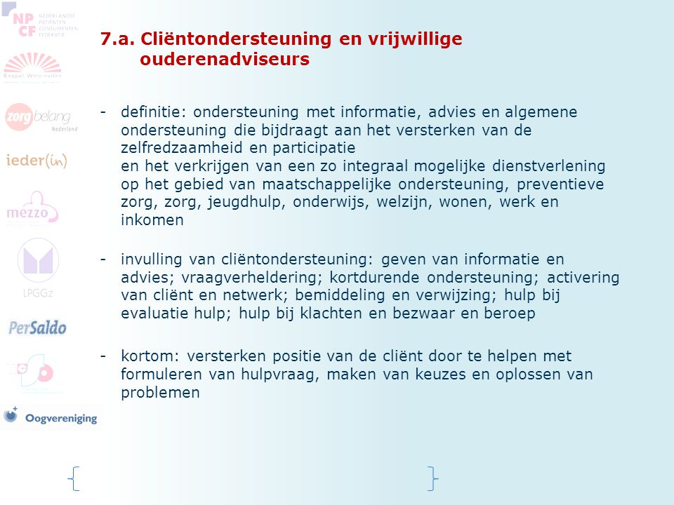 7.a. Cliëntondersteuning en vrijwillige ouderenadviseurs