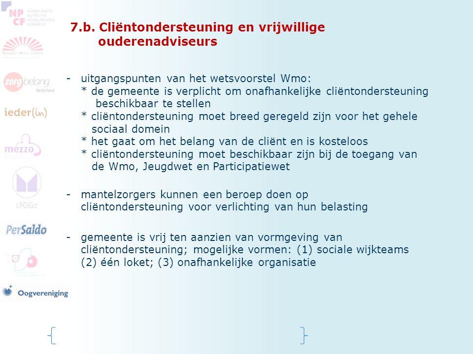 7.b. Cliëntondersteuning en vrijwillige ouderenadviseurs