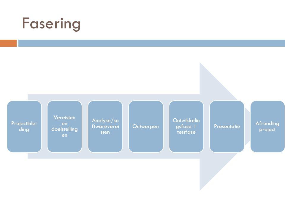 Fasering Projectinleiding Vereisten en doelstellingen