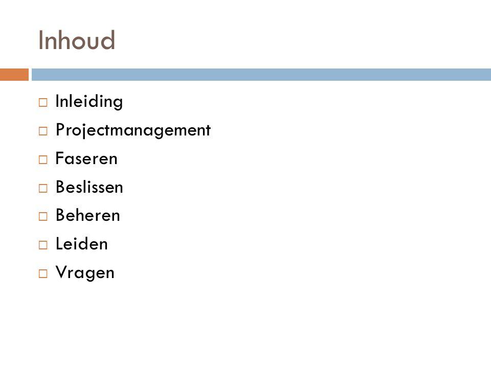 Inhoud Inleiding Projectmanagement Faseren Beslissen Beheren Leiden