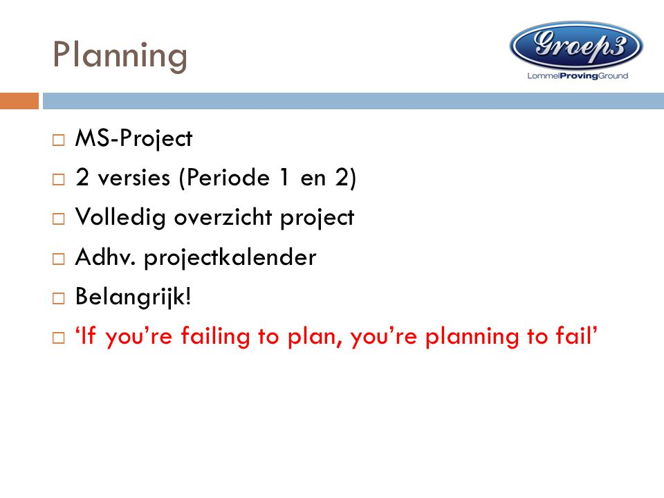 Planning MS-Project 2 versies (Periode 1 en 2)