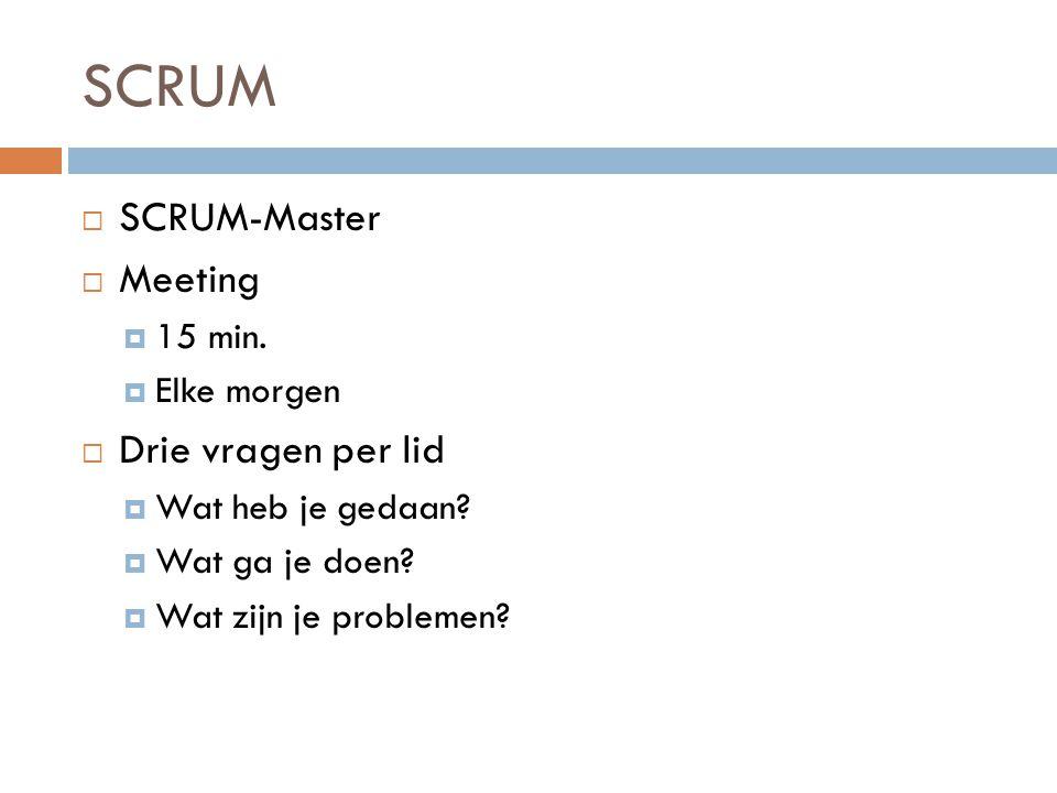 SCRUM SCRUM-Master Meeting Drie vragen per lid 15 min. Elke morgen