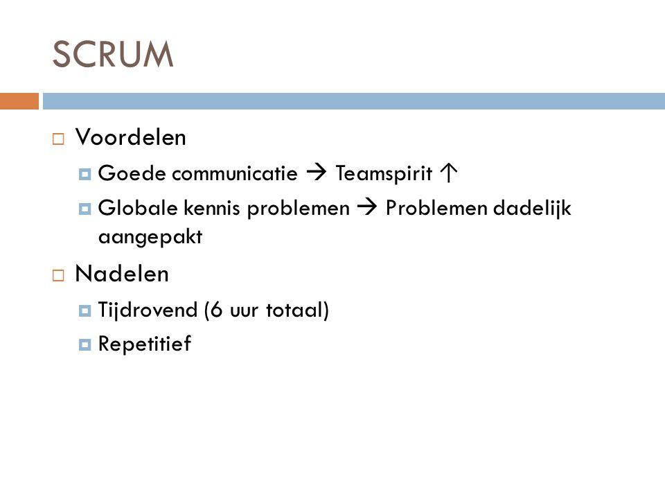 SCRUM Voordelen Nadelen Goede communicatie  Teamspirit ↑