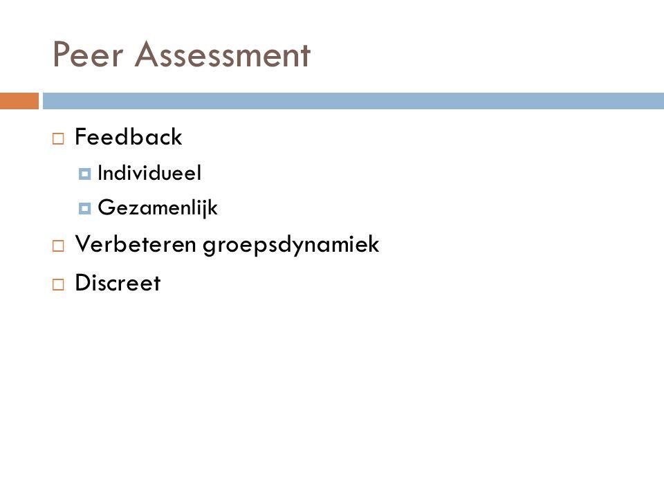Peer Assessment Feedback Verbeteren groepsdynamiek Discreet