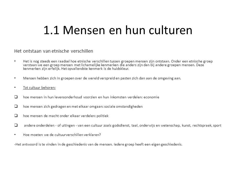 1.1 Mensen en hun culturen Het ontstaan van etnische verschillen