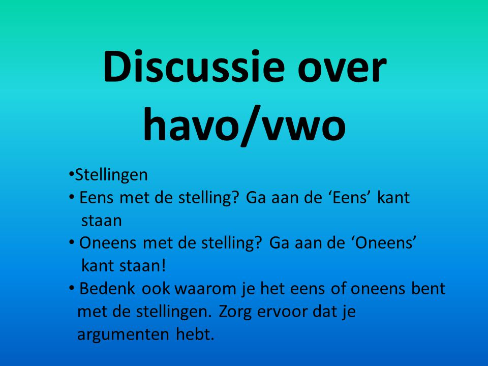 Discussie over havo/vwo