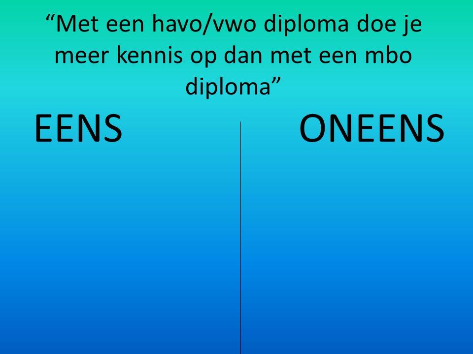 Met een havo/vwo diploma doe je meer kennis op dan met een mbo diploma