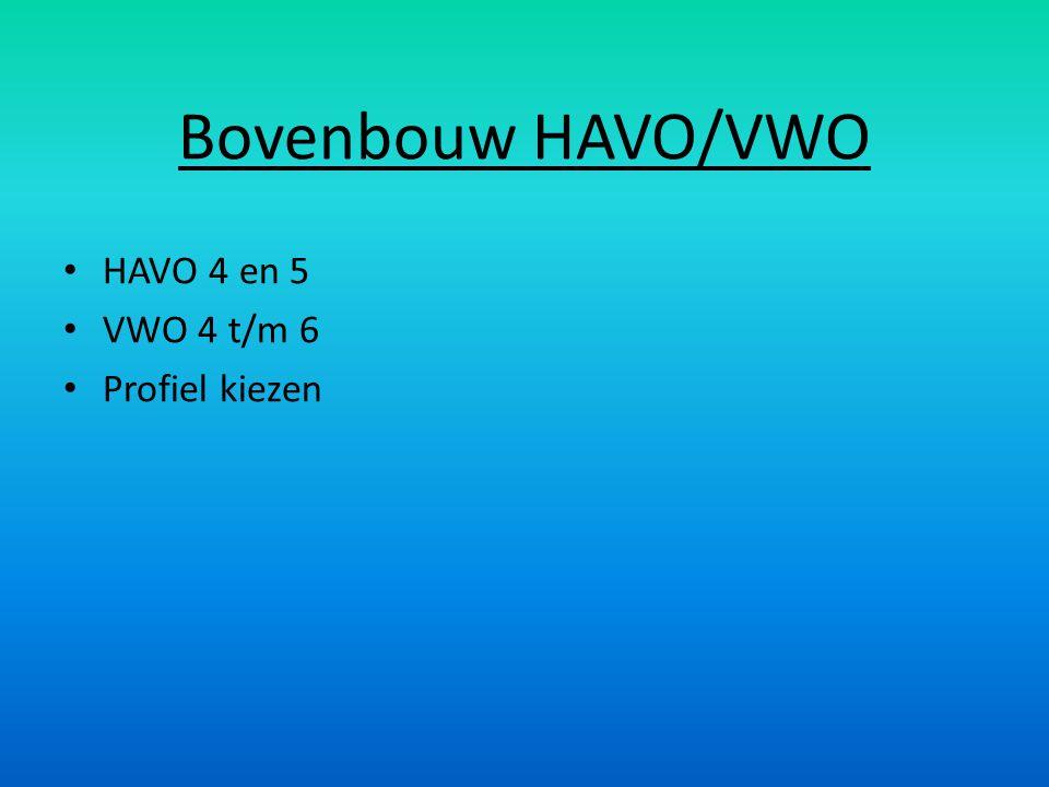 Bovenbouw HAVO/VWO HAVO 4 en 5 VWO 4 t/m 6 Profiel kiezen