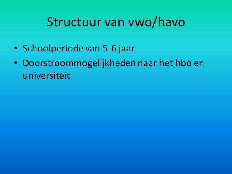 Structuur van vwo/havo