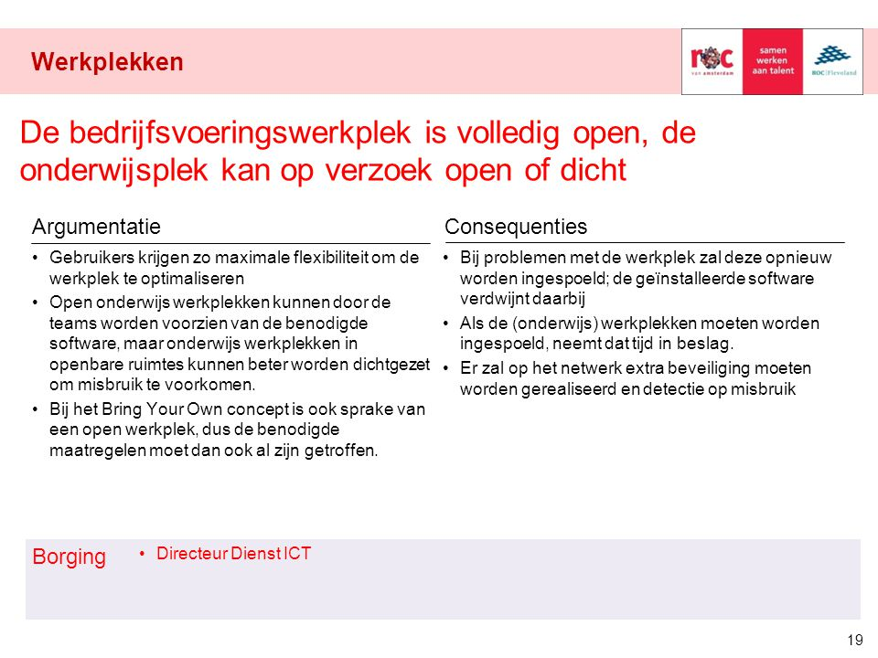 Werkplekken De bedrijfsvoeringswerkplek is volledig open, de onderwijsplek kan op verzoek open of dicht.