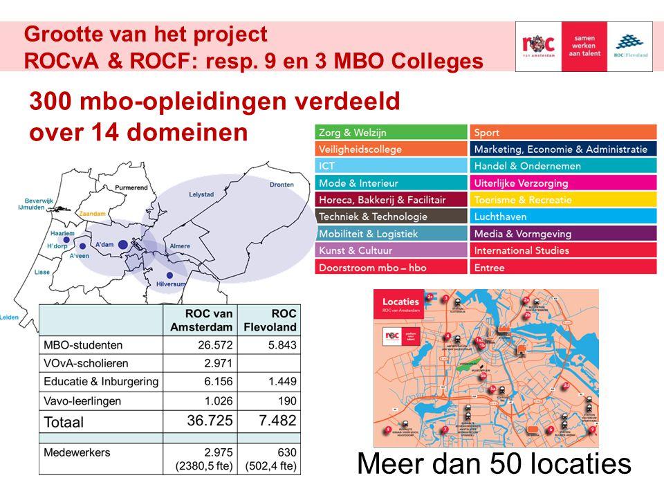Grootte van het project ROCvA & ROCF: resp. 9 en 3 MBO Colleges