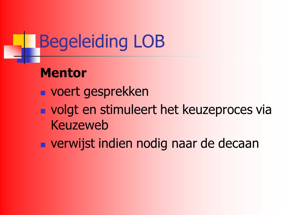 Begeleiding LOB Mentor voert gesprekken
