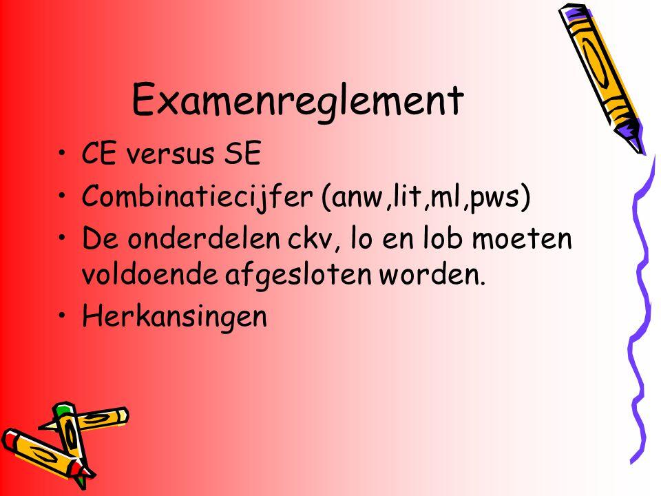 Examenreglement CE versus SE Combinatiecijfer (anw,lit,ml,pws)