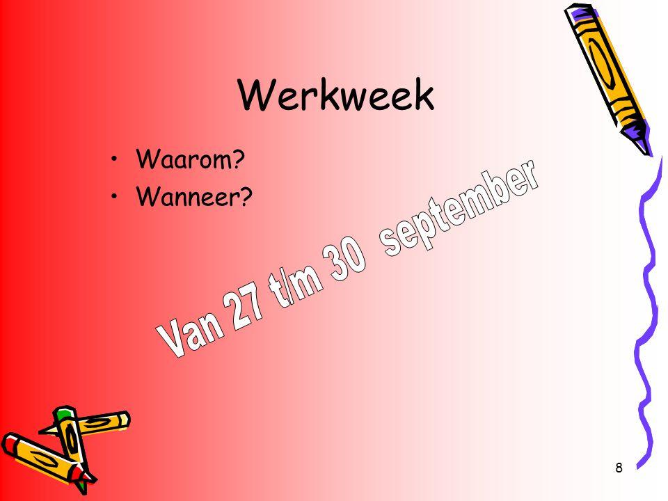 Werkweek Waarom Wanneer Van 27 t/m 30 september