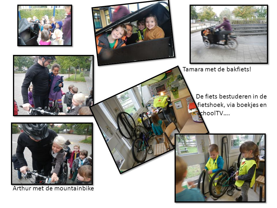 Tamara met de bakfiets. De fiets bestuderen in de.