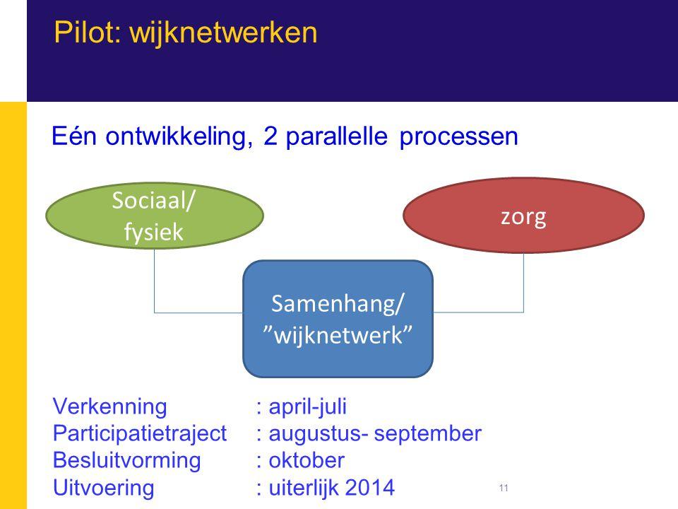 Pilot: wijknetwerken Eén ontwikkeling, 2 parallelle processen Sociaal/