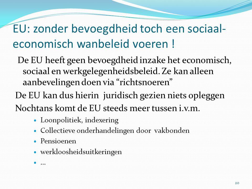 EU: zonder bevoegdheid toch een sociaal-economisch wanbeleid voeren !