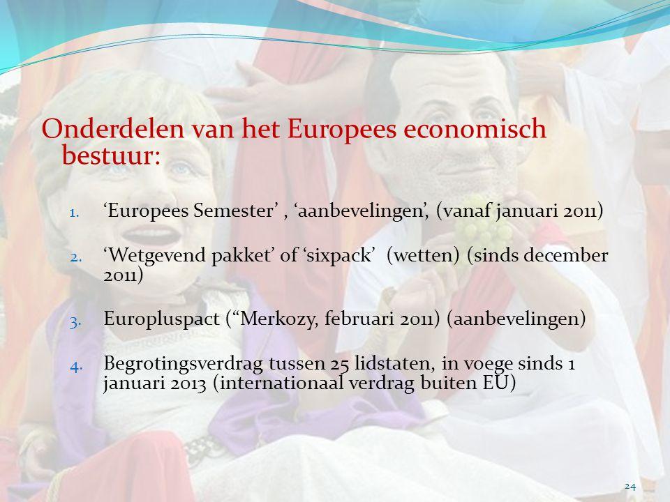 Onderdelen van het Europees economisch bestuur: