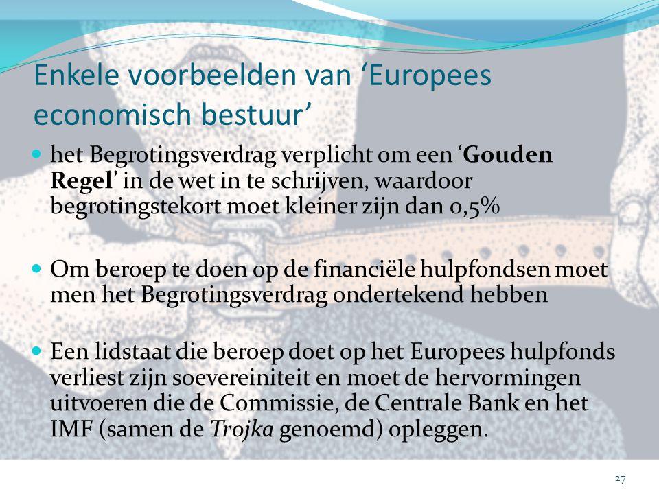 Enkele voorbeelden van 'Europees economisch bestuur'