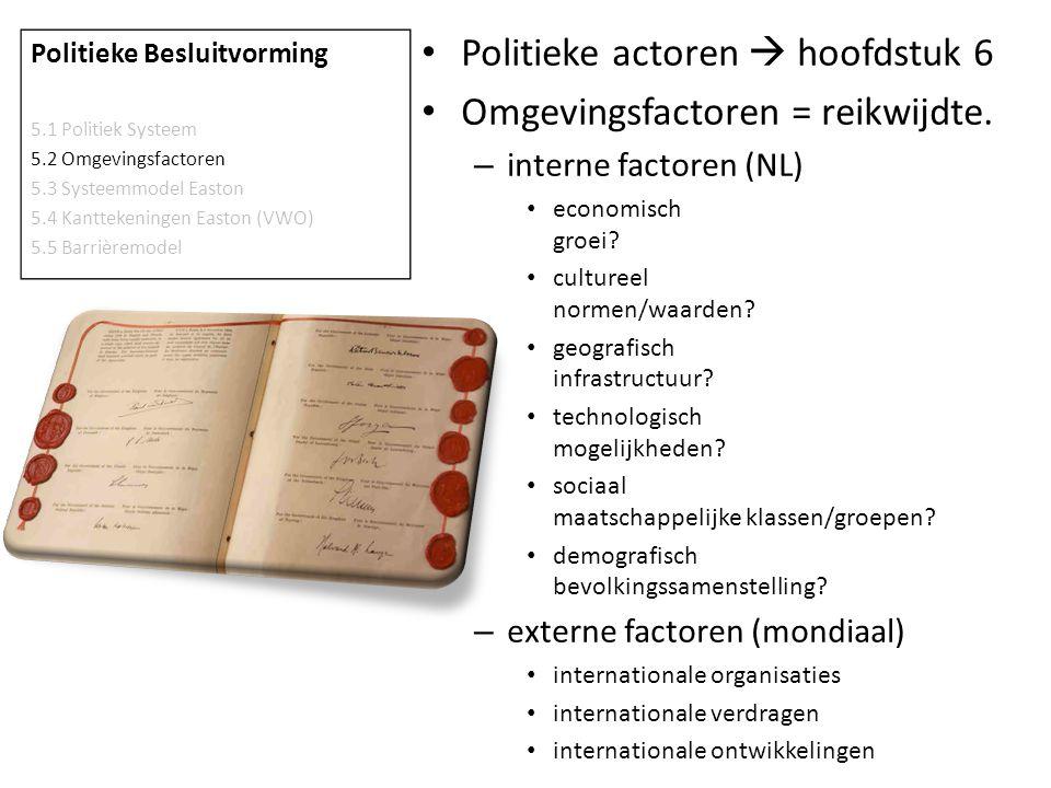 Politieke actoren  hoofdstuk 6 Omgevingsfactoren = reikwijdte.