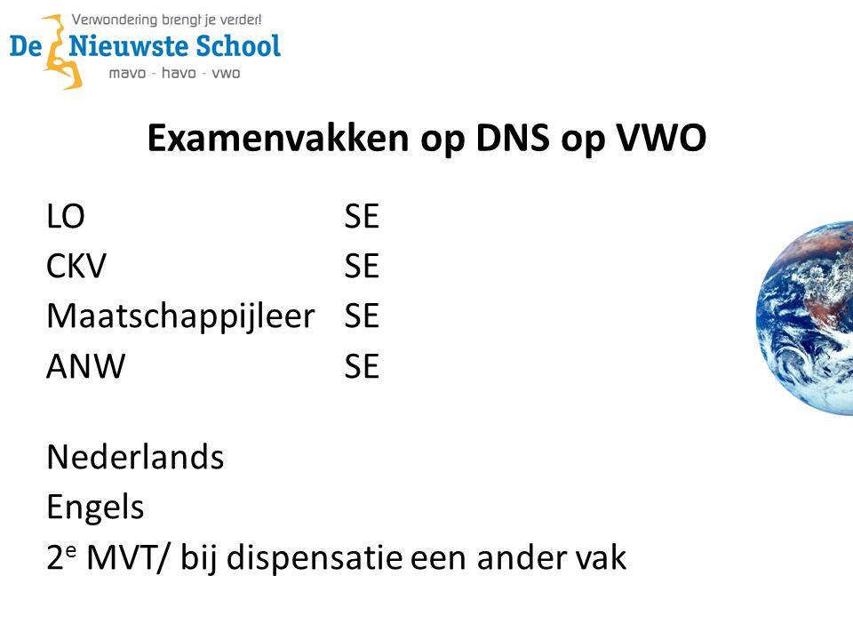 Examenvakken op DNS op VWO