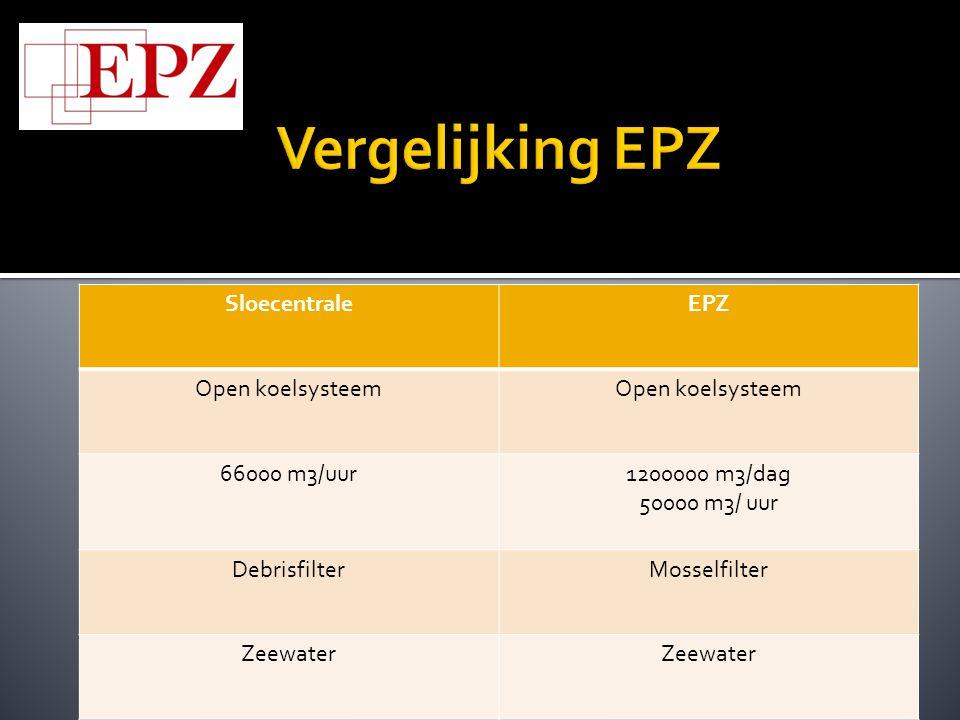 Vergelijking EPZ Sloecentrale EPZ Open koelsysteem 66000 m3/uur