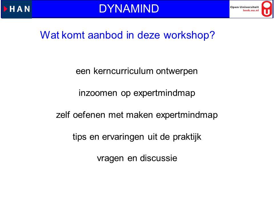 DYNAMIND Wat komt aanbod in deze workshop