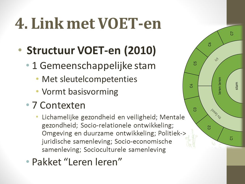 4. Link met VOET-en Structuur VOET-en (2010) 1 Gemeenschappelijke stam