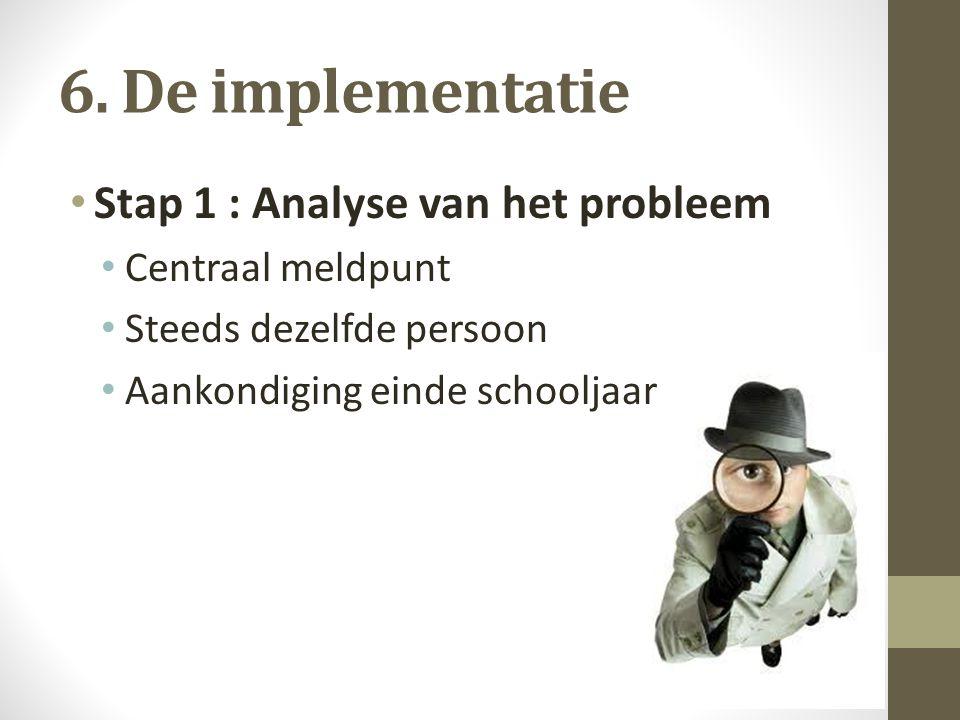 6. De implementatie Stap 1 : Analyse van het probleem