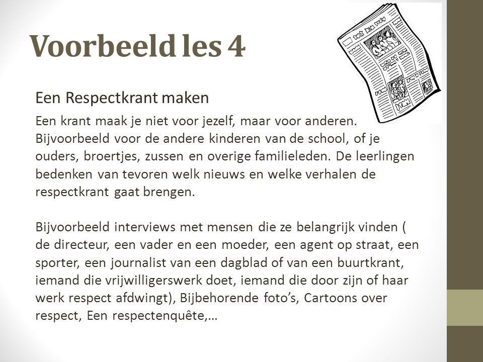 Voorbeeld les 4 Een Respectkrant maken
