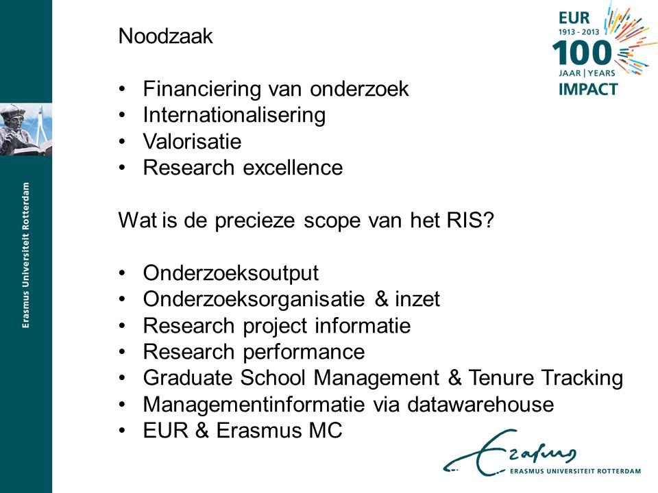 Noodzaak Financiering van onderzoek. Internationalisering. Valorisatie. Research excellence. Wat is de precieze scope van het RIS