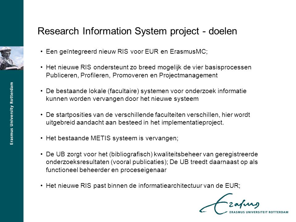 Research Information System project - doelen