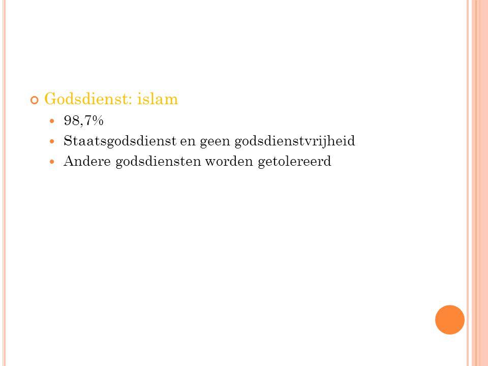Godsdienst: islam 98,7% Staatsgodsdienst en geen godsdienstvrijheid