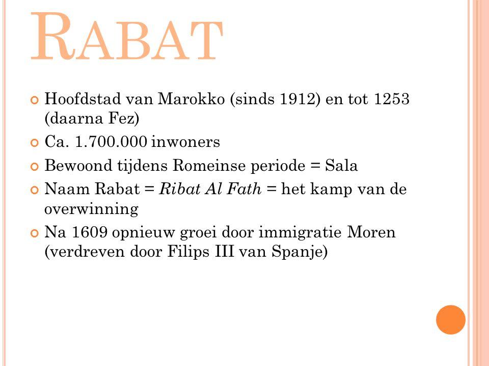 Rabat Hoofdstad van Marokko (sinds 1912) en tot 1253 (daarna Fez)