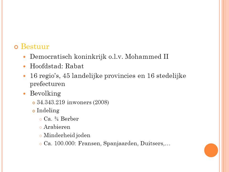 Bestuur Democratisch koninkrijk o.l.v. Mohammed II Hoofdstad: Rabat