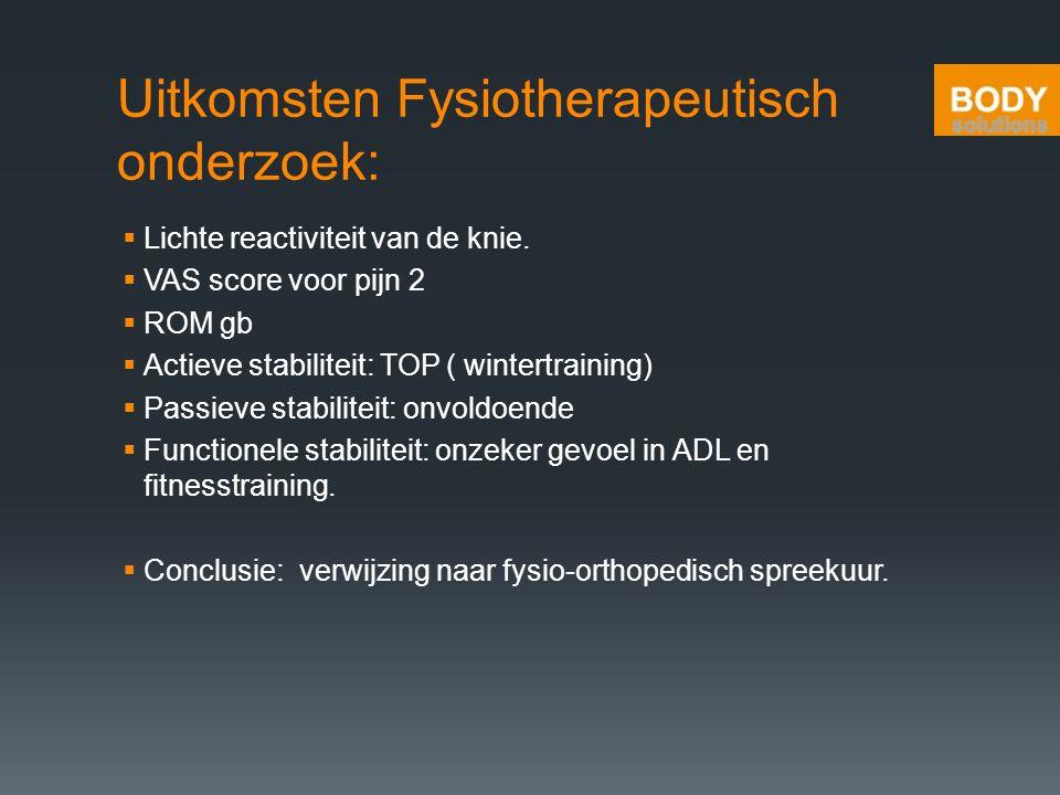 Uitkomsten Fysiotherapeutisch onderzoek: