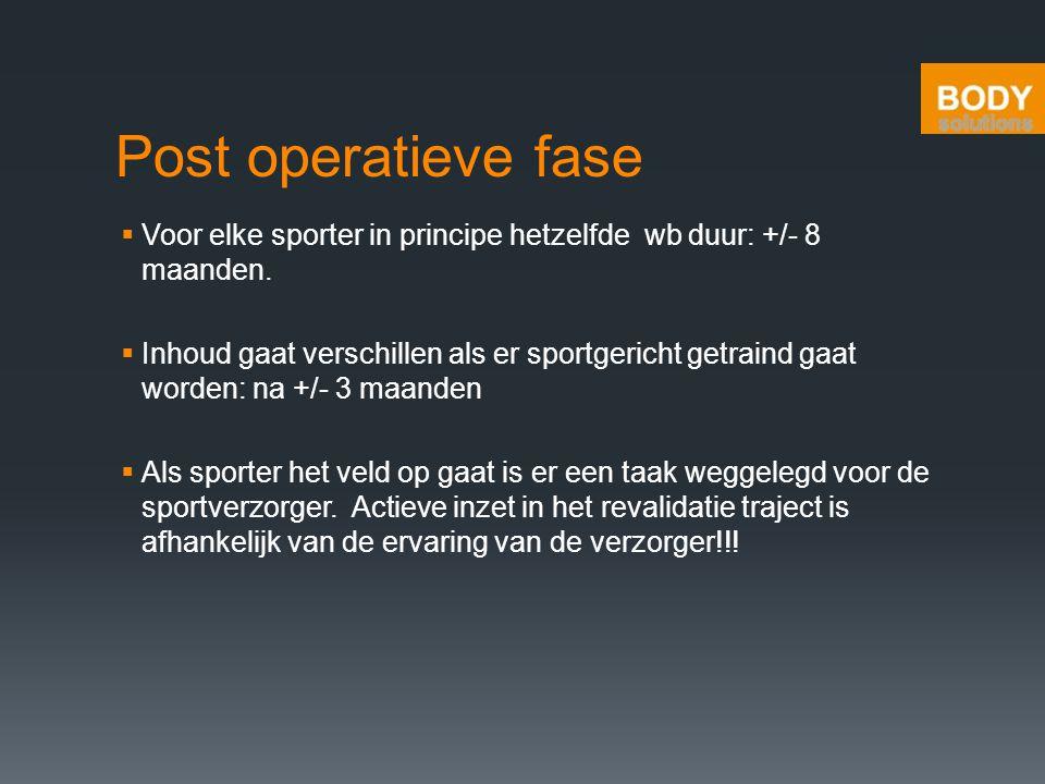 Post operatieve fase Voor elke sporter in principe hetzelfde wb duur: +/- 8 maanden.