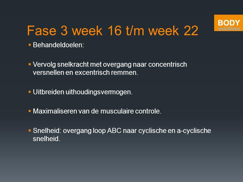 Fase 3 week 16 t/m week 22 Behandeldoelen: