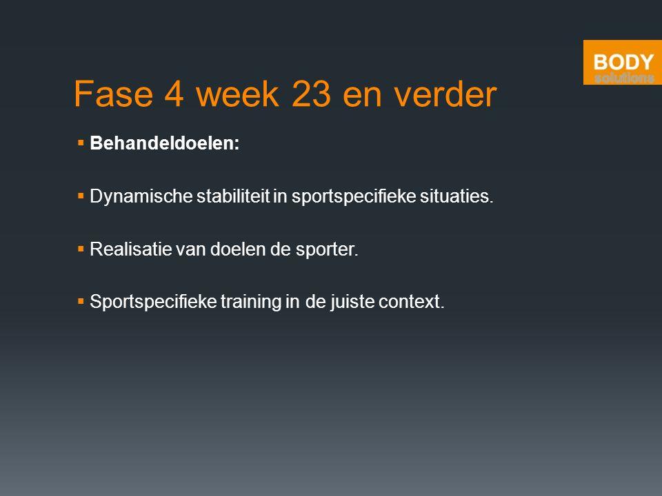 Fase 4 week 23 en verder Behandeldoelen: