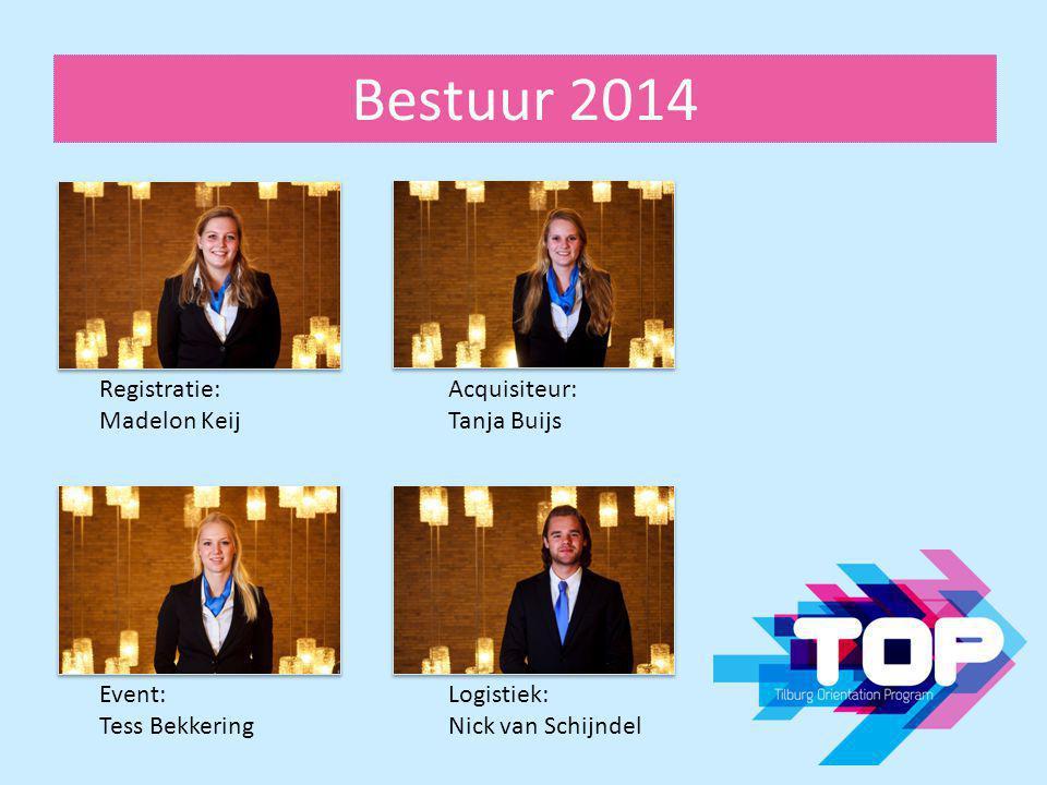 Bestuur 2014 Registratie: Madelon Keij Acquisiteur: Tanja Buijs Event: