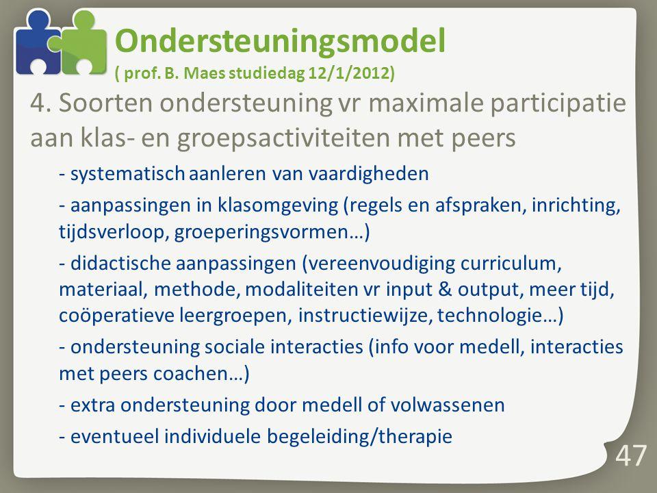 Ondersteuningsmodel ( prof. B. Maes studiedag 12/1/2012)