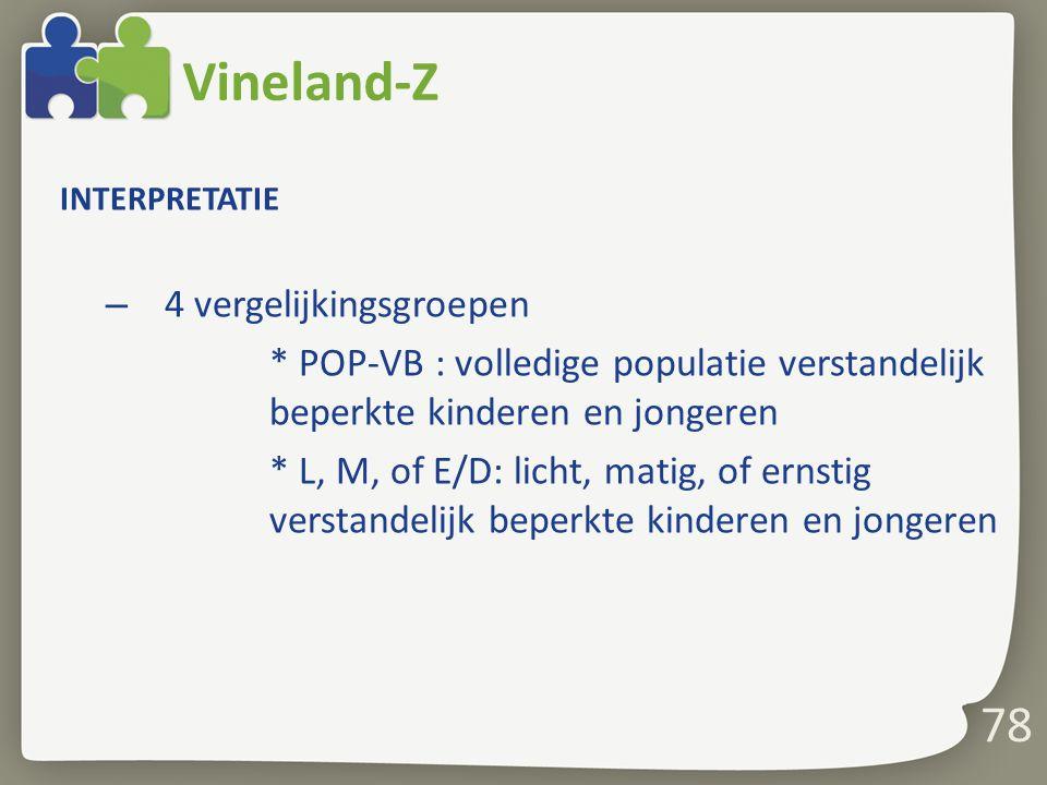 Vineland-Z 78 4 vergelijkingsgroepen