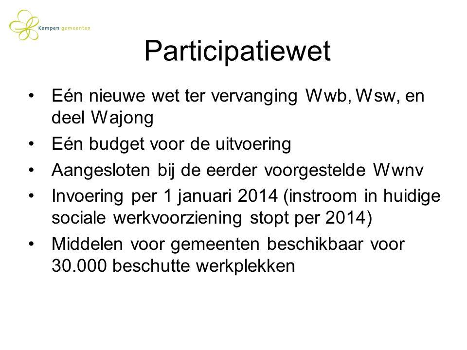 Participatiewet Eén nieuwe wet ter vervanging Wwb, Wsw, en deel Wajong