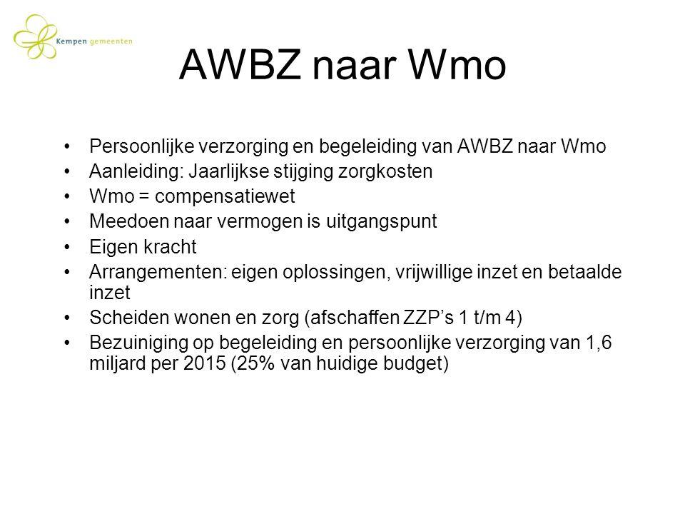 AWBZ naar Wmo Persoonlijke verzorging en begeleiding van AWBZ naar Wmo